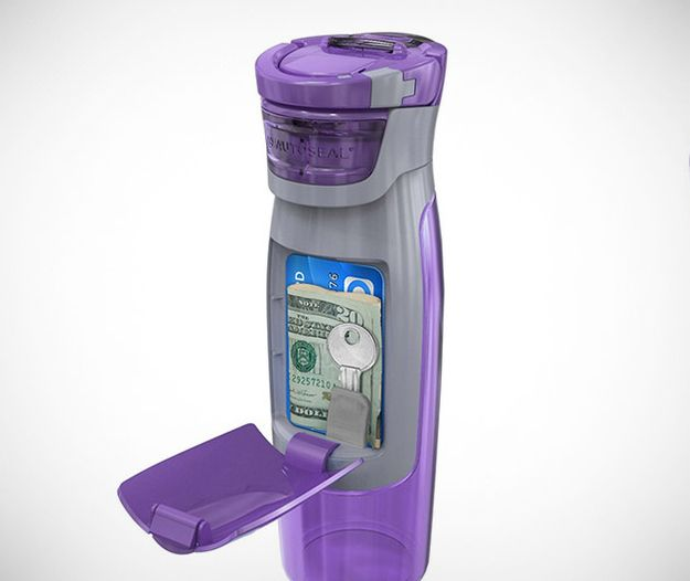 The Contigo Water Bottle has a compartment that holds your necessities.