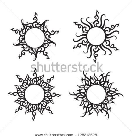 Abstract vector ornaments. Sun and flower tattoo. by JeyArt, via Shutterstock