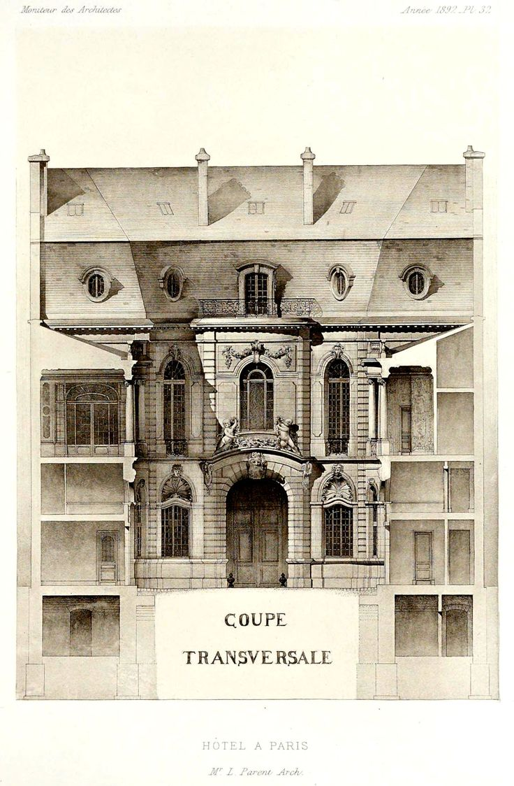 section of a hotel particulier paris pinterest architectural drawings. Black Bedroom Furniture Sets. Home Design Ideas
