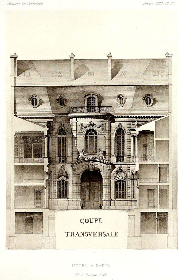 Section of a hotel particulier paris - Hotel particulier paris bismut architecture ...