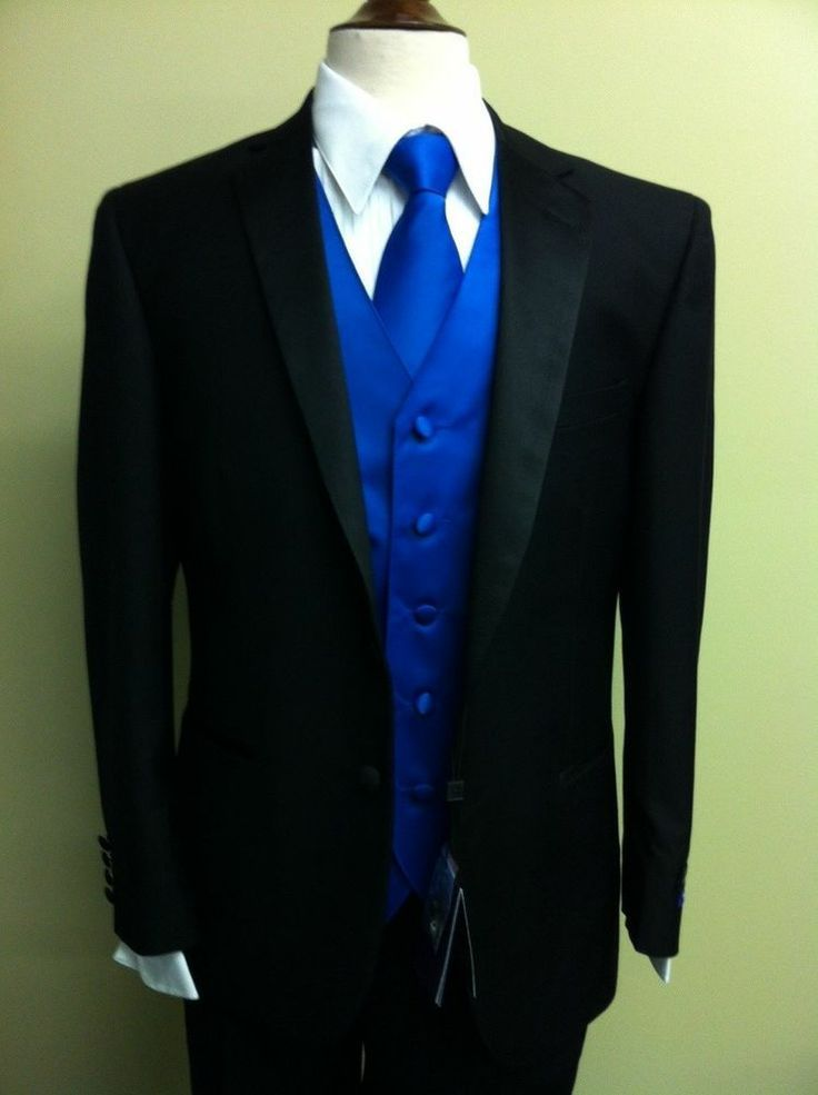 mens black and blue tuxedos | MENS BLACK TUXEDO W/ PLAIN ROYAL BLUE VEST, FREE SHIRT & TIE (SIZE 52S ...