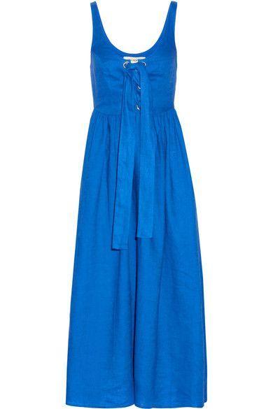 Mara Hoffman   Lace-up organic linen midi dress   NET-A-PORTER.COM