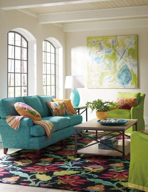 Elegant Teal Sofa And Lime Green Swivel Chairs Via Company C