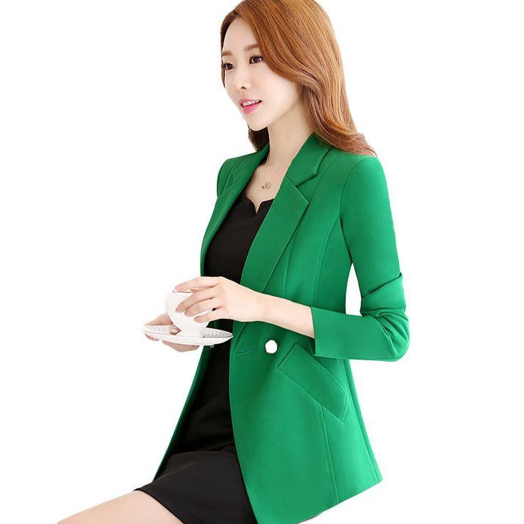 Fmasuth Autumn New 4XL Plus Size Blazers Women Full Sleeve Single Breasted Business Slim Long Blazer Green ow0349 #Affiliate