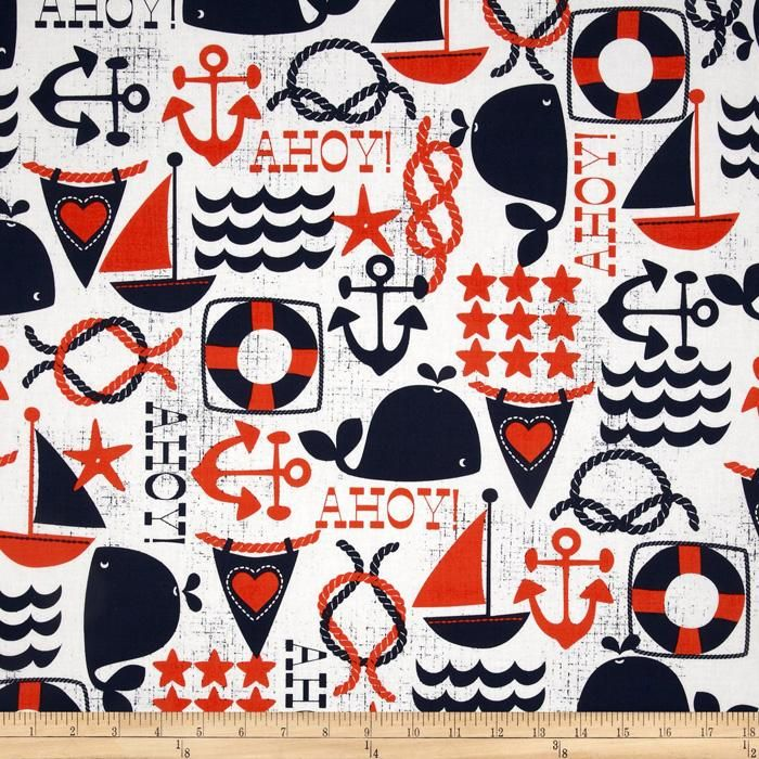 Michael Miller Ahoy Matey Ahoy Navy from @fabricdotcom  Designed for Michael Miller Fabrics, this cotton print includes colors of orange and navy on a white background. Use for quilting and craft projects as well as apparel and home décor accents.