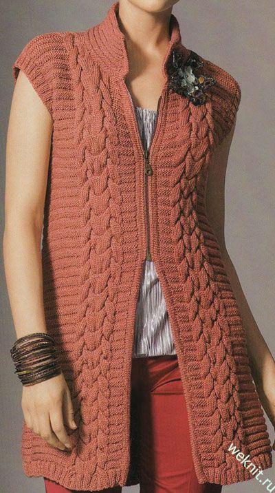 Vyazalochki: Удлиненный жилет спицами от Gedifra