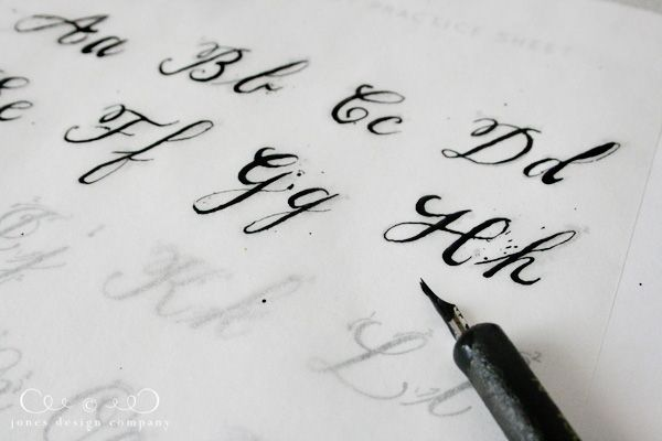Provides a link for how-to-learn calligraphy... Also, tracing paper over printable worksheets: Genius!