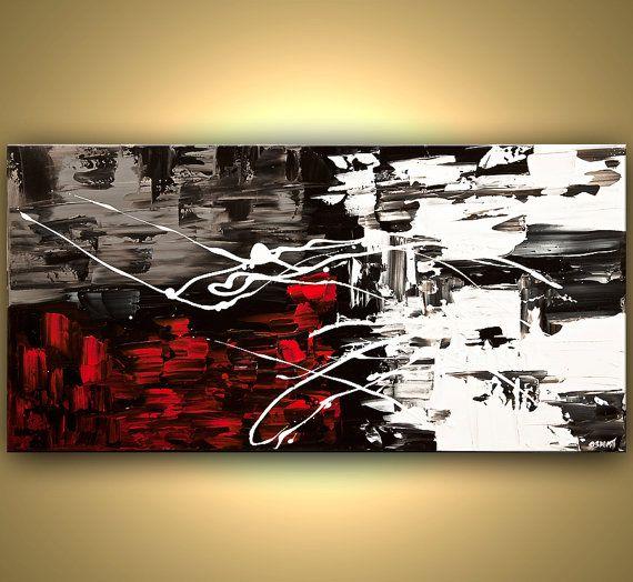 In My Eyes  Dimensions : 48 « x 24 » x1.5 Deep toile Galerie  Médium : Acrylique sur toile galerie-enveloppé  Couleurs : Noir, blanc, rouge, gris  Côtés de la peinture sont peint en noir  La peinture est signée par moi et sont expédiée directement à partir de mon studio.  La peinture est partiellement texturée.    Mes toiles sont recouvertes dun vernis pour protéger les couleurs pendant de longues périodes tout en assurant la durabilité et la protection contre les variations dans la…