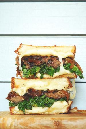 Grilled Cheese Sandwich with Sausage and Kale