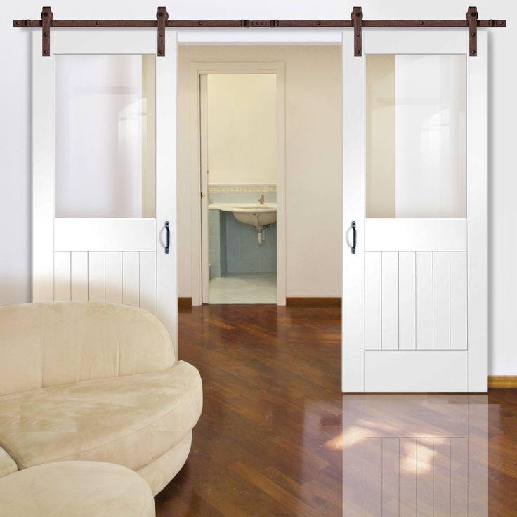 Thruslide Traditional Suffolk Sliding Double Door - White Primed - Clear Glass  - Lifestyle Image.    #barnstyledoors #slidingbarndoors