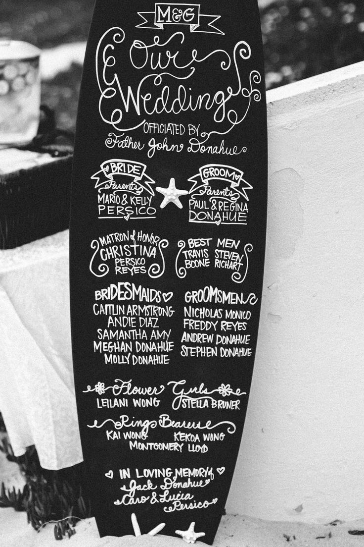 Ryan Scott Welsh // Fine Art Photojournalism Weddings and Engagements // www.ryanscottweddings.com // Chalkboard Surfboard for Bridal Party lists, parents, ring bearer and flower girl // Wedding Details // Southern California Beach Wedding //