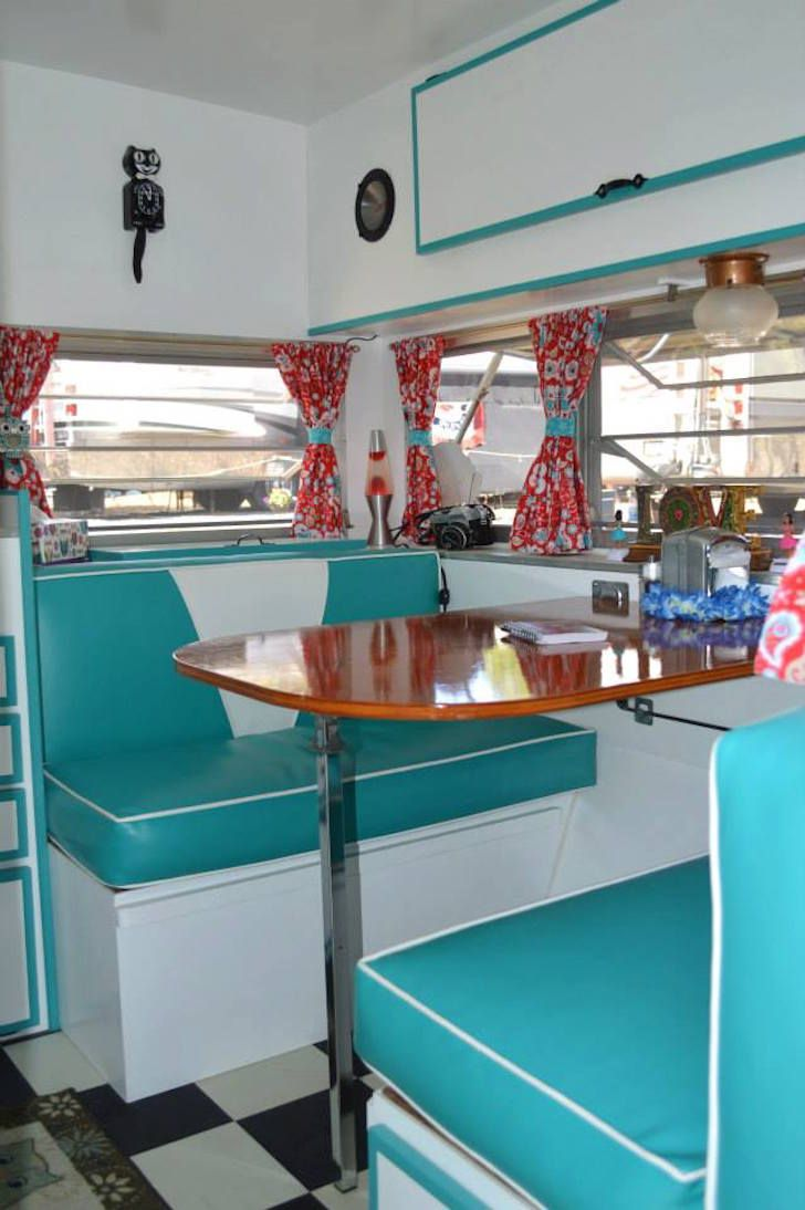 Retro camper curtains - Interior Of Late 60s Prowler Camper
