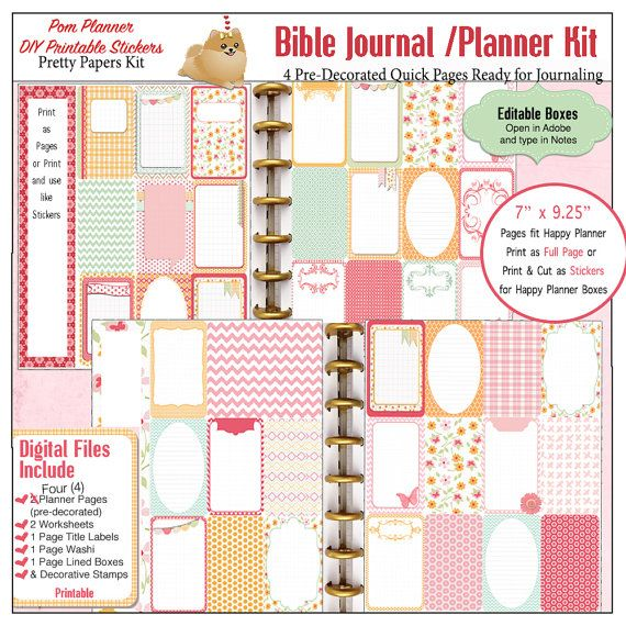 Editable Bible Journalling / Planner Kit w 4 Pre-Decorated Quick Pages  8 PDF Printables, Fit Happy Planner, Christian Stickers #PomPlanner