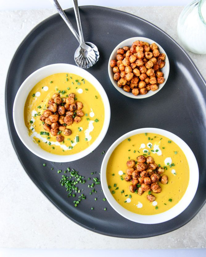 smoked gruyere butternut soup with spicy chickpeas I howsweeteats.com