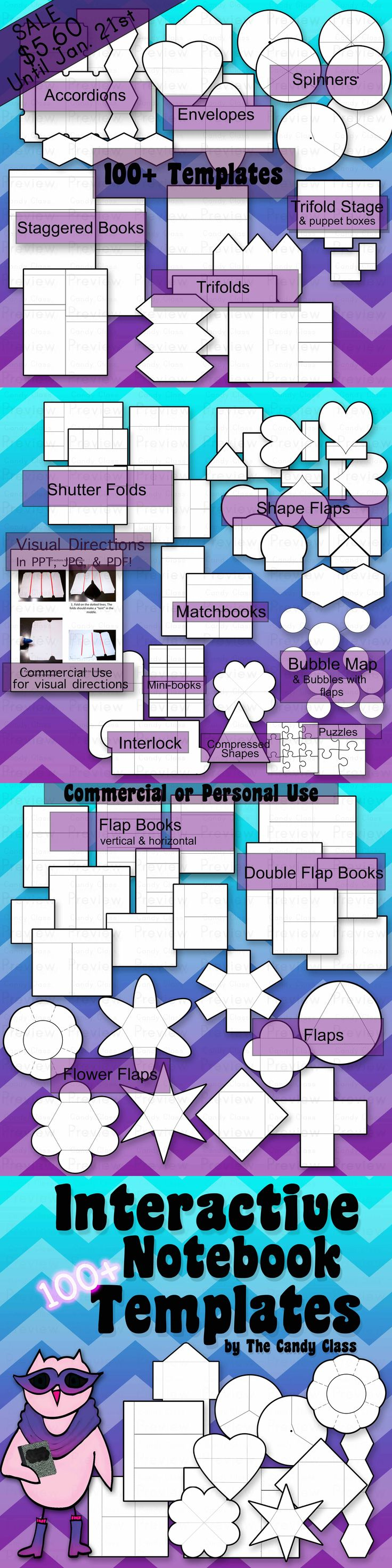 Interactive Reading Notebook with 100+ templates for commercial and personal use. On sale for $5.60 until Jan. 21st!!!
