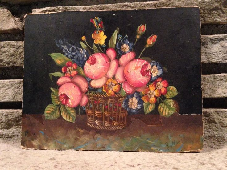 Hedwig Wollner Beuk Oil on Wood Still Life Floral Listed Artist Austria #Realism