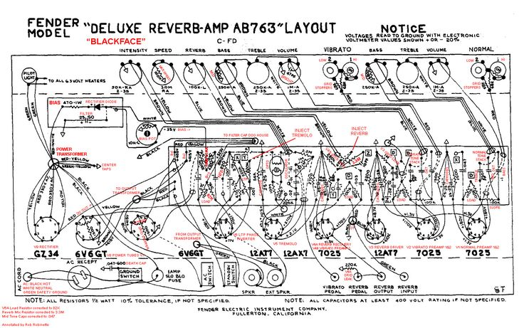 Fender Deluxe Reverb Ab763 Tube Guitar Amplifier Annotated Layout By Robrobinette Com