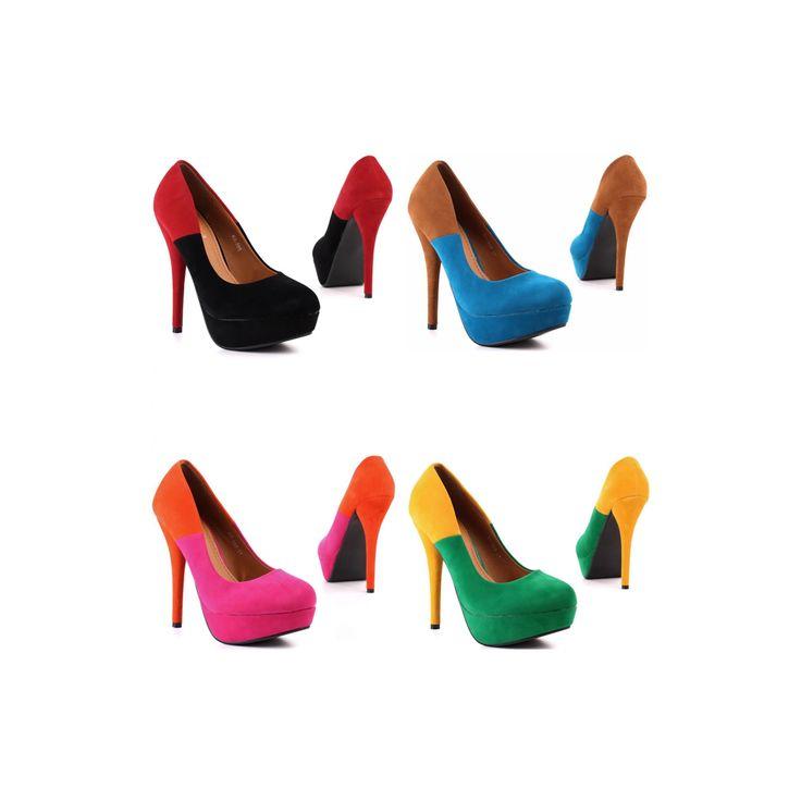 €9.99 http://goo.gl/qDs2ik  Meravigliose decolletè donna in similpelle scamosciata bicolore, tacco a spillo 14 cm., comodo e sexy plateau 3 cm. La scarpa calza bene rispetto alla numerazione indicata, per le misure precise visualizza la tabella in basso.