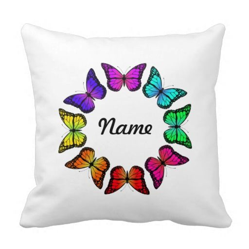 PERSONALIZE ME! Rainbow Butterfly Pillow - Add your own name and play with the font and background colour, make a pillow which is truly, uniquely yours! The other side of this pillow has lots of tiny multi-coloured butterflies.
