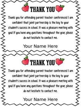FREEBIE EDITABLE PARENT TEACHER CONFERENCE FORMS & THANK YOU - TeachersPayTeachers.com