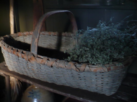 Beautiful, large Gathering Basket in old blue paint...drieds.