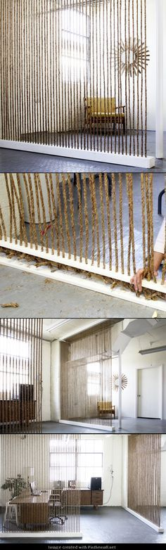 DIY HOME DECOR AND INTERIOR: DIY ROPE WALL This would go perfectly where my half wall is!