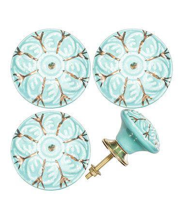 Turquoise Flower Ceramic Knob - Set of Four #zulily #zulilyfinds