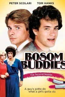Bosom Buddies (1980-1982)     Back in the prehistoric days of his acting career, Hanks donned a wig and stuffed bra so his sitcom character, Kip Wilson, could rent in an affordable girls-only apartment house. To pay that cheap rent, Kip-slash- Buffy worked as a graphic artist at Livingston, Gentry & Mishkin ad agency. His equally lipsticked roommate, Henry, wrote copy for the agency.