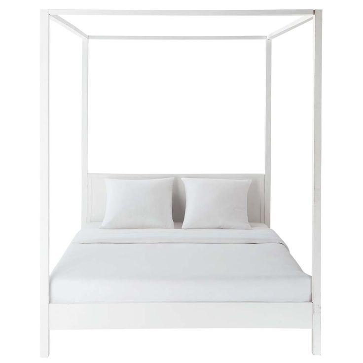 Lit à baldaquin 160 x 200 cm en bois blanc cassé Celeste- maybe for the master bedroom at the beach house?
