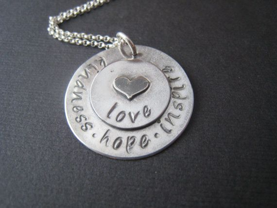 Stacked love hand stamped personalized heart by stampedjewellery, $65.00