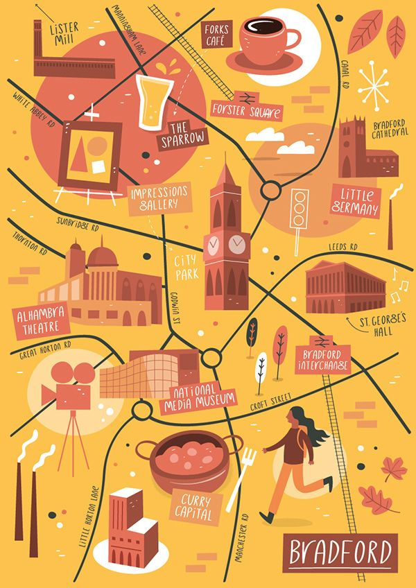 Tom Woolley - Illustrated map of Bradford, West Yorkshire, UK.