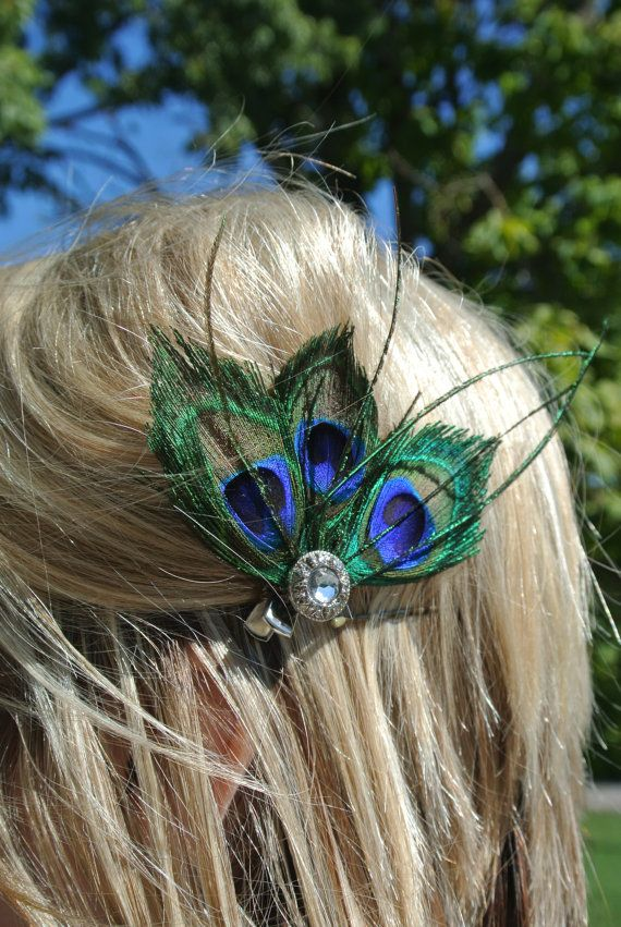 Three peacock feather hair clip. $8.20, via Etsy.