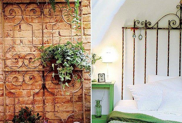 A grade de ferro (1,60 x 0,70 m) garimpada numa caçamba, R$ 450 na La Calle Florida, serve como suporte para vasos de plantas (Foto: Casa e Jardim)