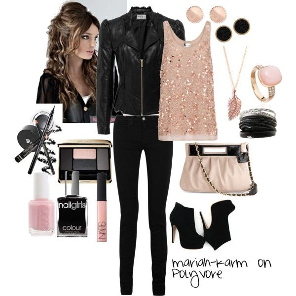 love the accessories and leather jacket. my proportions are just too weird for this lean look though. too straight to be curvy and not thin enough to look streamlined with a loose blouse like that. maybe after i lose ten pounds.     Girly Grunge, created by mariah-karm on Polyvore
