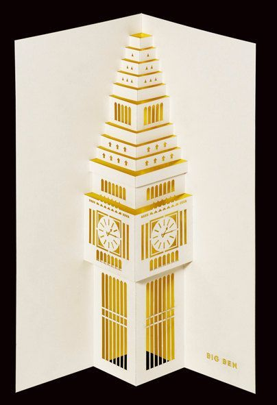 Pop-Up Cards Of London's Famous Landmarks    London-based paper goods company Paper Tango, which specializes in 3D greeting cards, has created a beautiful collection of paper-cut pop-up cards of London's iconic architectural landmarks named 'Spots London'.