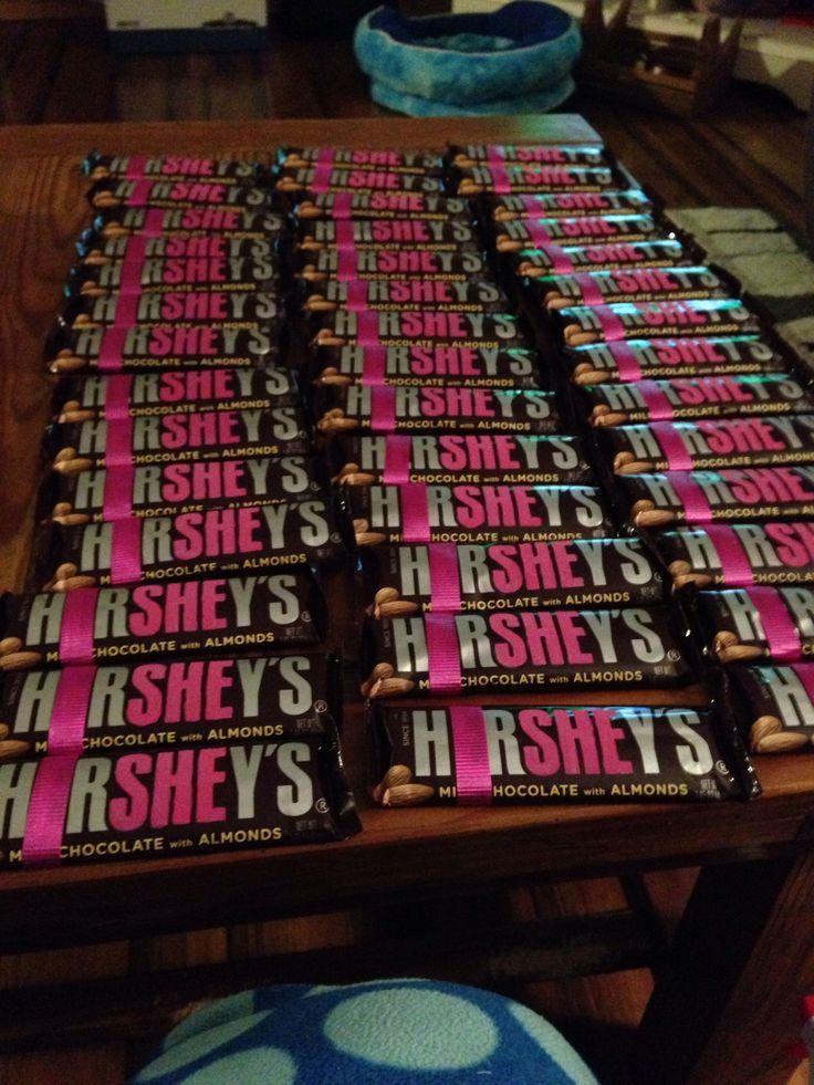 Hershey bar baby shower favor for girl.