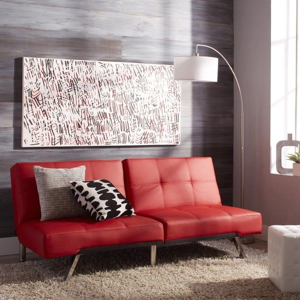 Abbyson Aspen Red Bonded Leather Futon Sleeper Sofa