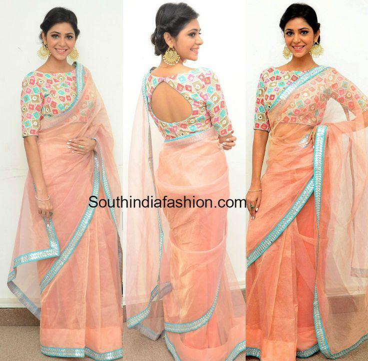 Actress Priyanka Bhardwaj attended the press meet of Mister 420 movie wearing a light peach organza net saree and boat neck blouse - blouses, red, red, indian, chic, off shoulder blouse *ad