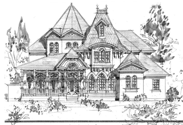 Victorian House Front Elevation : Front elevation of house sketch victorian drawings