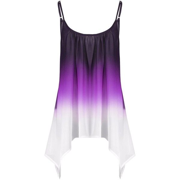 Plus Size Chiffon Handkerchief Ombre Cami Top ($12) ❤ liked on Polyvore featuring tops, plus size cami, purple cami, chiffon tank top, camisole tank top and purple tank