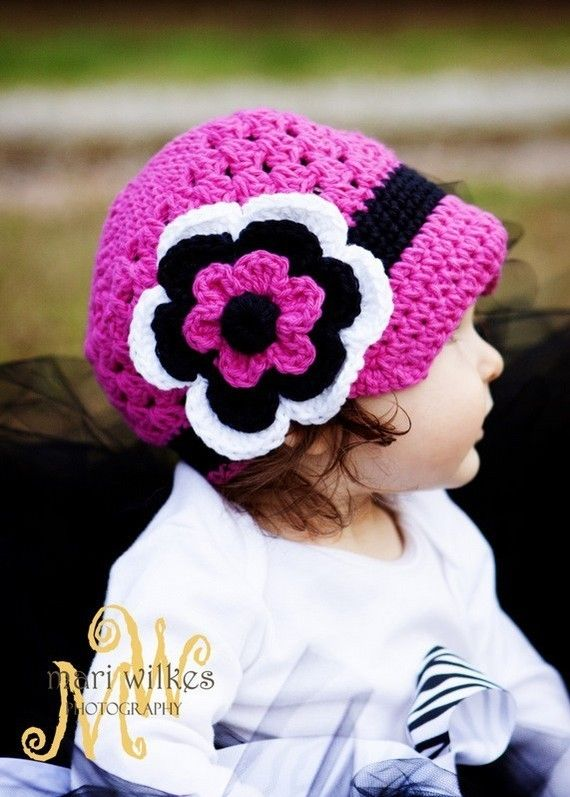 Hot pink and black crochet hat.