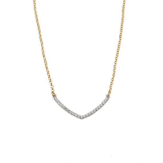 V Shape Necklace Rhinestone V Necklace Silver Chevron