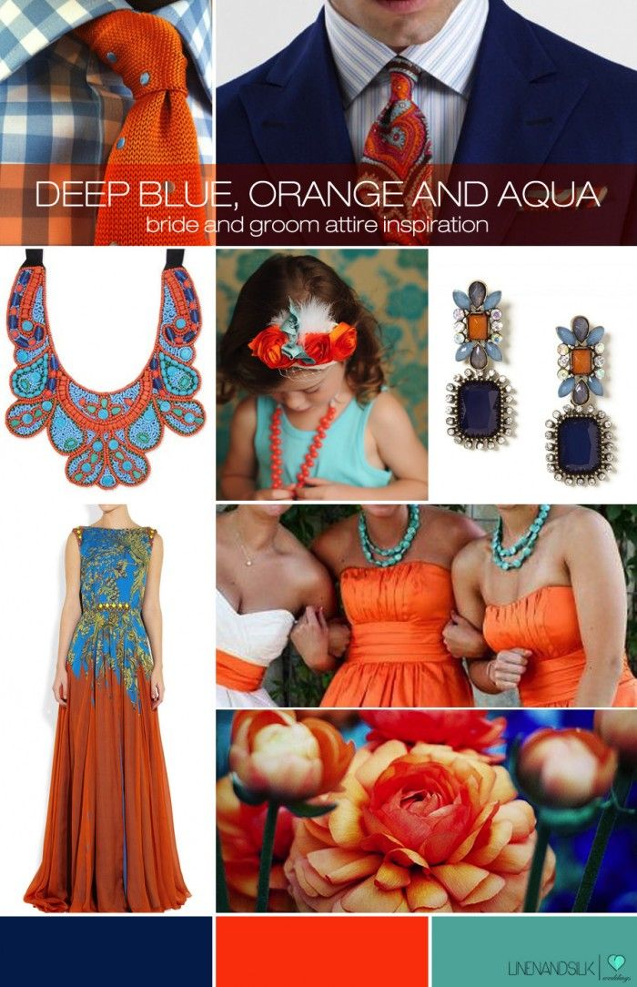 Linen and Silk Weddings mood board - Blue, Orange and Aqua wedding inspiration
