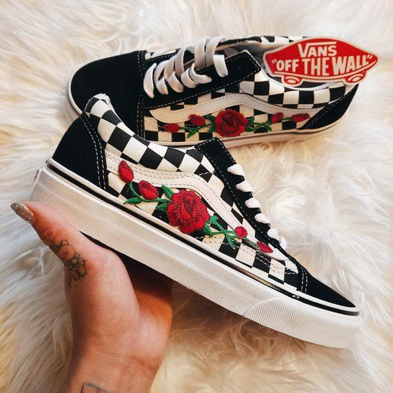 Details about Checkerboard Old Skool Red Rose Embroidery Vans Custom Trainers Embroidered