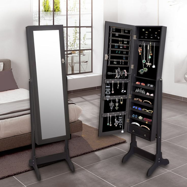 Mirror Jewellery Cabinet w/ Shelves & Drawers Black | Buy Mirror Jewellery Cabinets