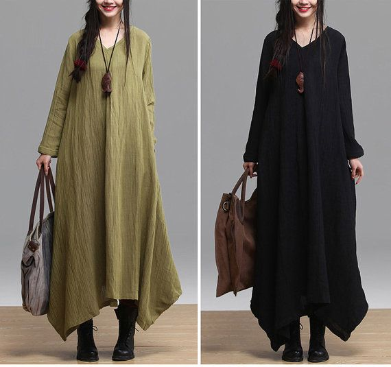 2colors , women black and green plus size linen tunic  tops dress ,free size autumn spring , aolo-582
