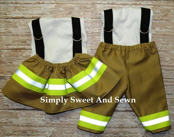 Firefighter Baby Boy OR Girl Outfit     by SimplySweetByB, $30.00