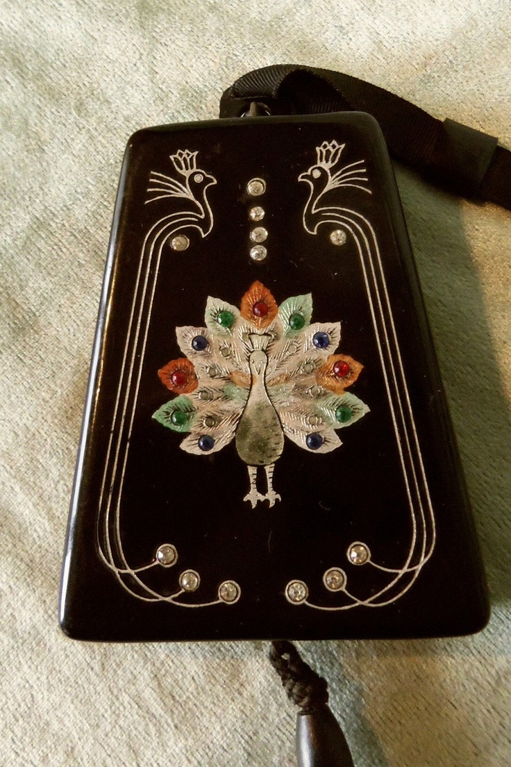 Vintage Celluloid Dance Compact Vanity Bag Purse, Jeweled Peacock, Complete