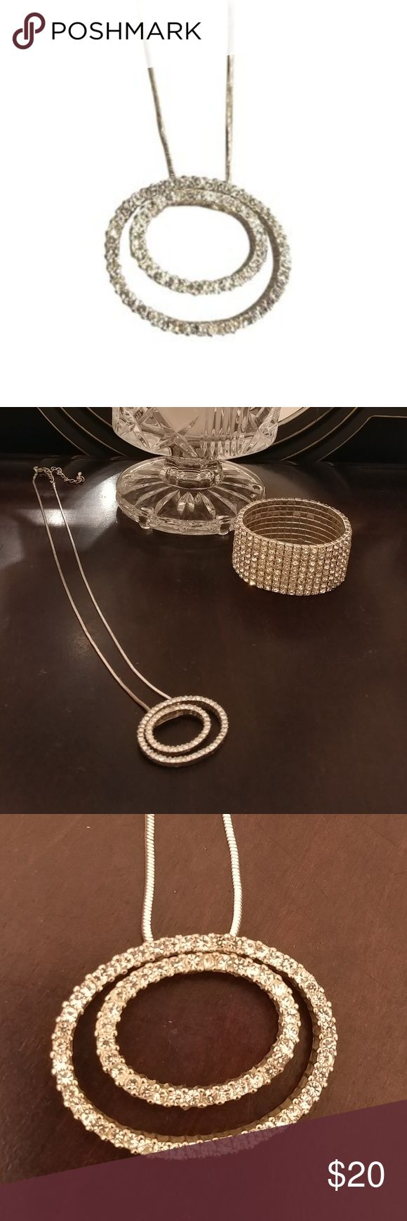 DUET Retired Premier Designs Necklace Silver plated with cut crystal accents. It is 17-19 inches long. Sold new for $54. Last in the 2008 catalog. In excellant used condition. Premier Designs Jewelry Necklaces