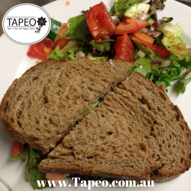 #BLT #sandwiches on #rye with #salad at Tapeo. Visit us at 82 Redfern St, Redfern NSW. Check us out at http://www.Tapeo.com.au & follow us on FB http://FB.com.tapeo.au #Tapeo #tapeocafe #tapeoredfern #redfern #sydneycafe #sydney #cafe #restaurant #bacon #lettuce #tomato #avocado #caramelisedonions #aioli #yummy #delicious